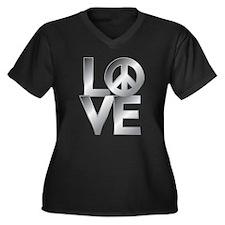 Grey Metallic LOVE with Peace Symbol Plus Size T-S
