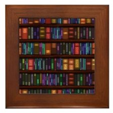 Old Bookshelves Framed Tile