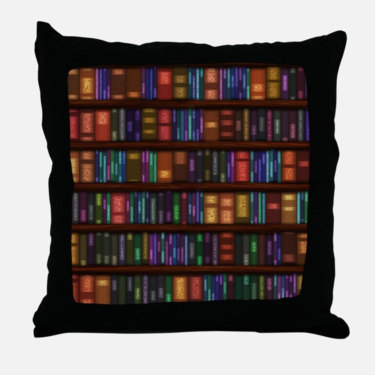 Old Bookshelves Throw Pillow