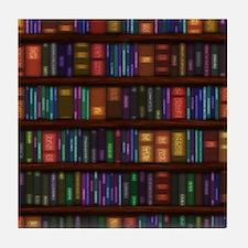 Old Bookshelves Tile Coaster