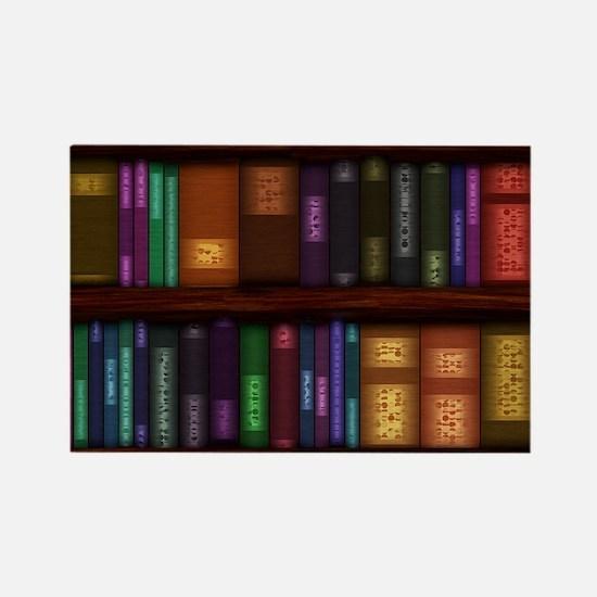 Old Bookshelves Rectangle Magnet