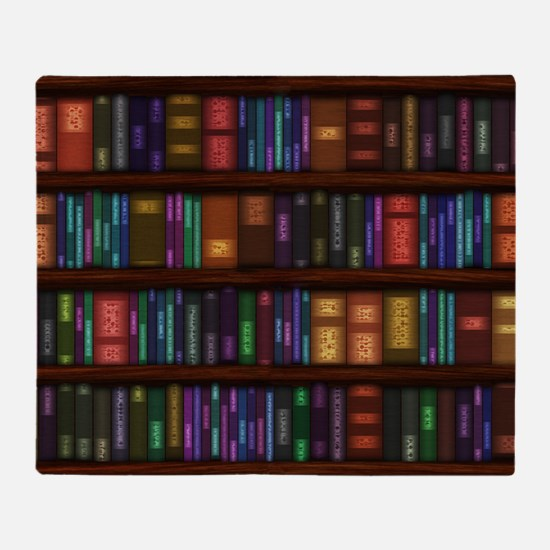 Old Bookshelves Throw Blanket