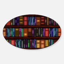 Old Bookshelves Sticker (Oval)
