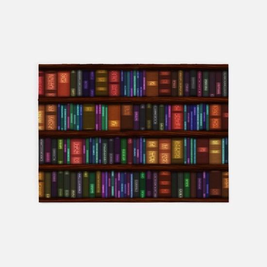 Old Bookshelves 5'x7'Area Rug