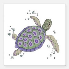"Swimming Sea Turtle Square Car Magnet 3"" x 3"""
