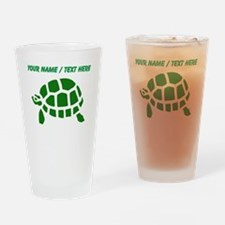 Personalized Green Turtle Drinking Glass