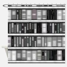 Modern Bookshelf Shower Curtain