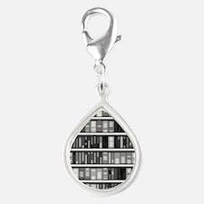 Modern Bookshelf Silver Teardrop Charm