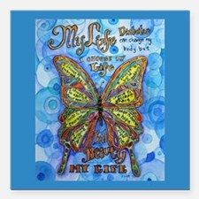 "Diabetes Butterfly Square Car Magnet 3"" x 3"""
