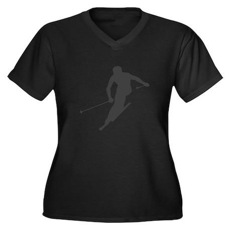 Downhill Skiing Women's Plus Size V-Neck Dark T-Sh