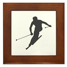Downhill Skiing Framed Tile