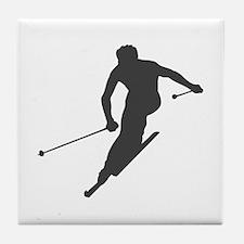 Downhill Skiing Tile Coaster