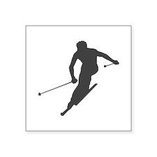 "Downhill Skiing Square Sticker 3"" x 3"""