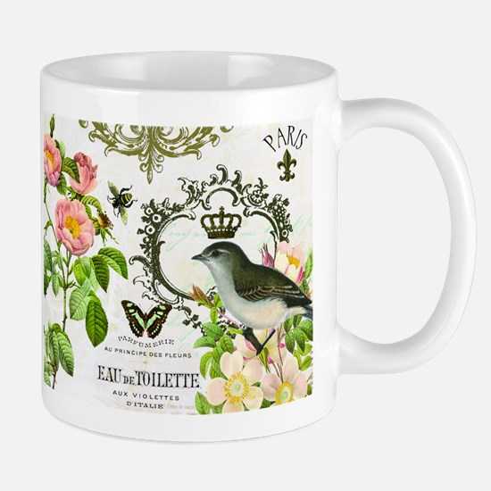 Vintage French shabby chic bird with crown Mug
