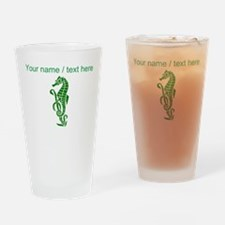 Personalized Green Sea Horse Design Drinking Glass