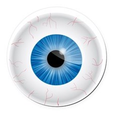 Bloodshot Blue Eyeball Round Car Magnet
