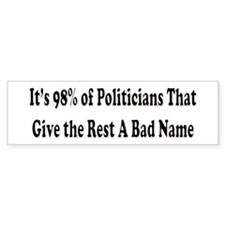 98% of Politicians Bumper Bumper Sticker