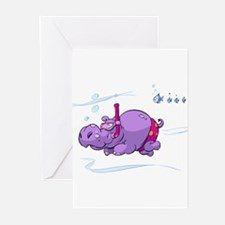 Snorkeling Hippo Greeting Cards (Pk of 10)
