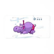 Snorkeling Hippo Aluminum License Plate