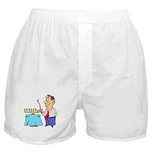 Dad lighting Menorah Boxer Shorts