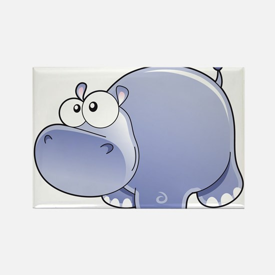 Happy Hippo Rectangle Magnet