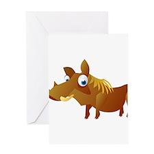 Cartoon Warthog Greeting Card