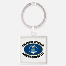 Proud Air Force Veteran Square Keychain