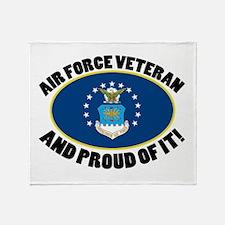 Proud Air Force Veteran Throw Blanket