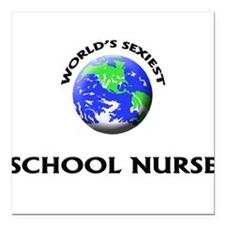 World's Sexiest School Nurse Square Car Magnet 3""