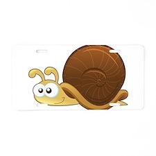 Tan Cartoon Snail Aluminum License Plate
