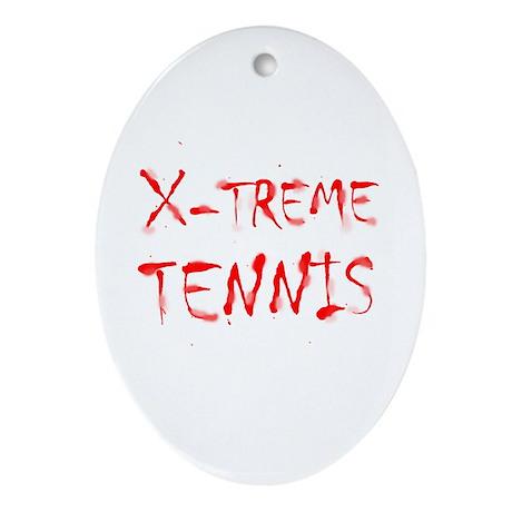 X-treme Tennis Oval Ornament