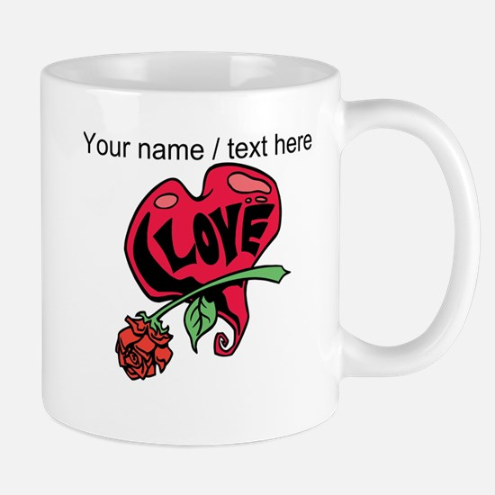 Personalized Love Heart With Rose Mug
