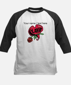 Personalized Love Heart With Rose Baseball Jersey