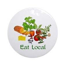 Eat Local Grown Produce Ornament (Round)