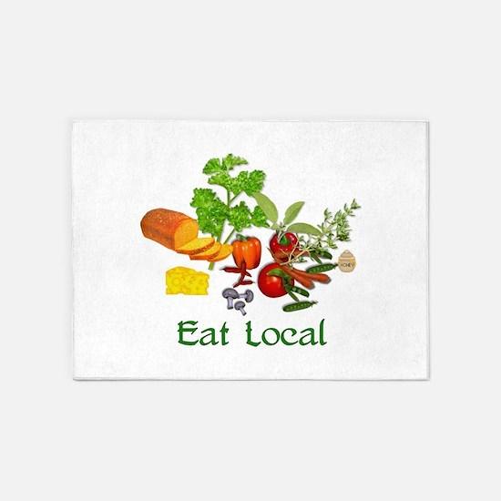 Eat Local Grown Produce 5'x7'Area Rug