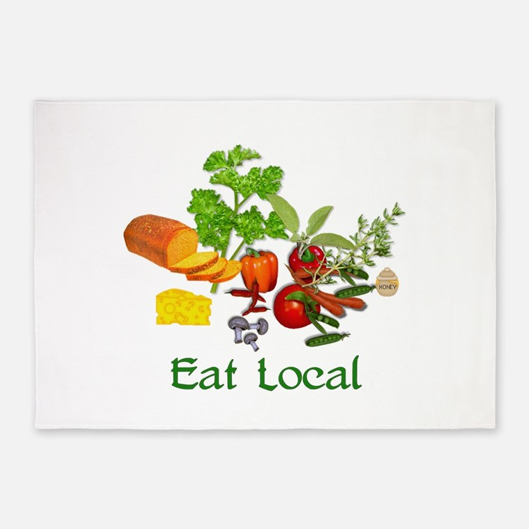 Eat Local Grown Produce 5'x7'Area Rug