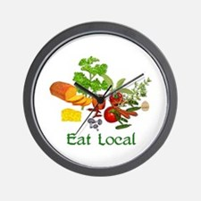 Eat Local Grown Produce Wall Clock
