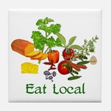 Eat Local Grown Produce Tile Coaster