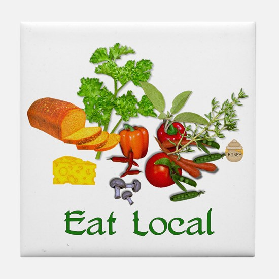 Eat Local Grown Produce Tile Coaster