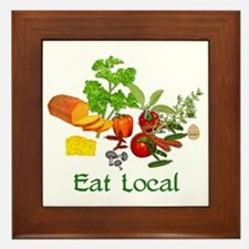 Eat Local Grown Produce Framed Tile