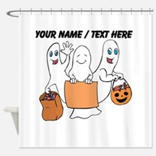 Personalized Trick Or Treating Ghosts Shower Curta