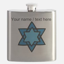 Personalized Blue Star Of David Flask