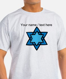 Personalized Blue Star Of David T-Shirt