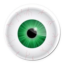 Bloodshot Green Eyeball Round Car Magnet