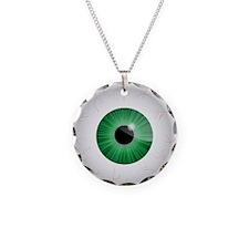 Bloodshot Green Eyeball Necklace