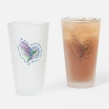 Hummingbird Heart Art Drinking Glass
