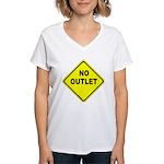 No Outlet Sign Women's V-Neck T-Shirt
