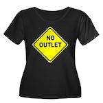 No Outlet Sign Women's Plus Size Scoop Neck Dark T