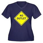 No Outlet Sign Women's Plus Size V-Neck Dark T-Shi