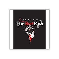 "Red Path Square Sticker 3"" x 3"""